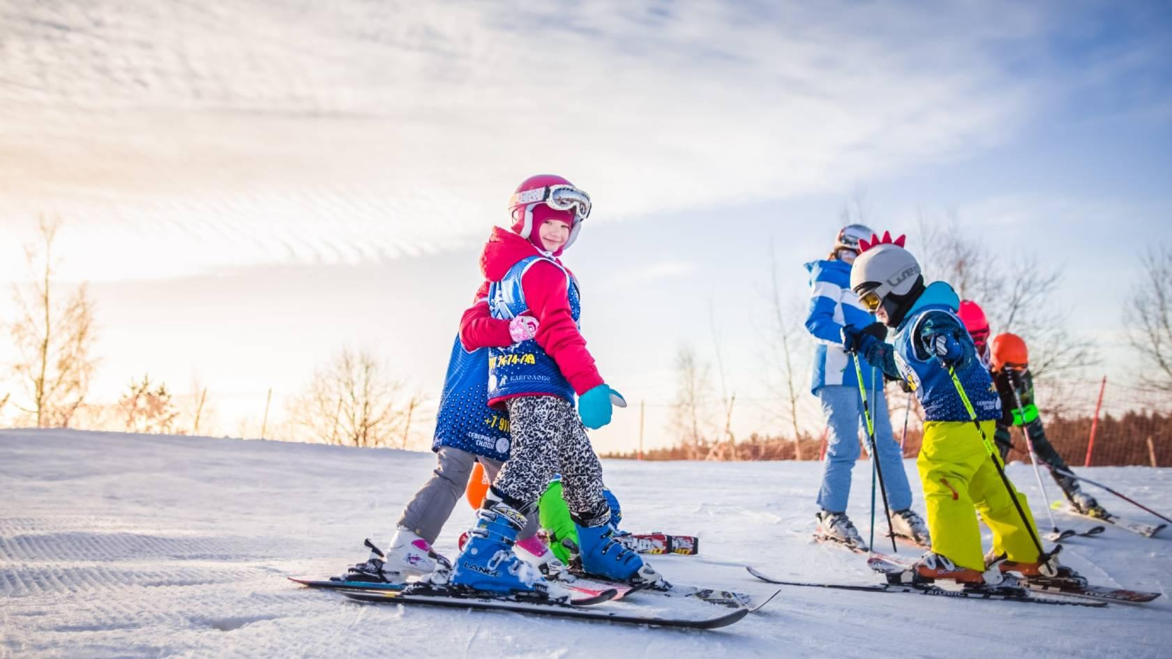 kids skiing in finland
